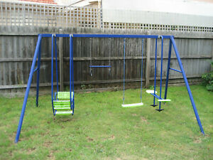 HILLS PLAYTIME SWING SET - 4 BAY - BLUE & GREEN - NEW & USED COMBO