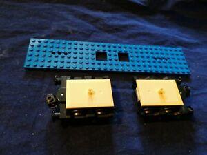 LEGO Train Parts Carriage Wagon 2 x Bogie Buffer Wheel Assembly Plus Flatbed.