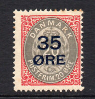Denmark 35 Ore on 20 Ore c1912 Mounted Mint Stamp (2787)