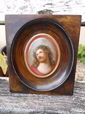 Ancienne miniature peinte décor Christ sur plaque de porcelaine ovale