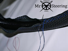 FITS AUSTIN MORRIS MINI PERFORATED LEATHER STEERING WHEEL COVER R BLUE DOUBLE ST