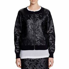 DKNY Women's Applique Mixed Media Bomber Jacket, Black, S