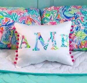 NEW Monogram pillow made with LILLY PULITZER PB Mermaid Cove Fabric