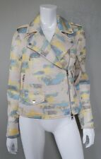 ARMANI EXCHANGE AX Blue Yellow Abstract Printed Motorcycle Mesh Jacket - Size M