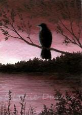 ACEO art print Bird 66 Crow Raven from original painting by L.Dumas