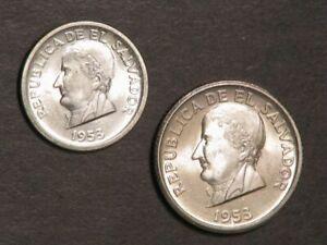 EL SALVADOR 1953 25 & 50 Centavos Silver BU - Lot of 2 Coins
