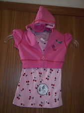 Beautees 2 in 1 Hoodie Tank Pink Cherries Size 5 NEW WITH TAGS