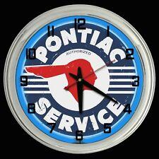 "16"" Pontiac Service Distressed Sign Blue Neon Clock Chevy"