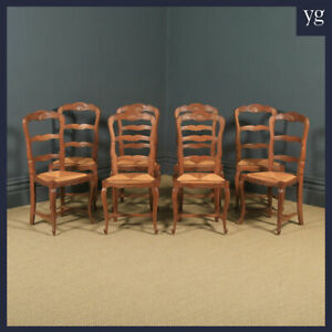 Antique Set 8 Eight Louis Style Oak Ladder Back Rush Seat Kitchen Dining Chairs