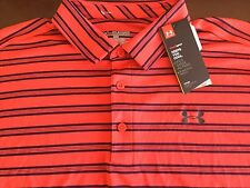 Under Armour  men's heatgear loose fit red striped polo shirt, size 2XL, NWT!