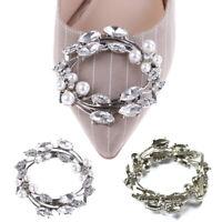 1Pc metal faux pearl rhinestones bridal women prom shoes charm clip buckle Js