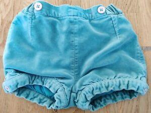 Baby Boden 18-24 months toddler girl shorts bloomers teal turquoise velvet