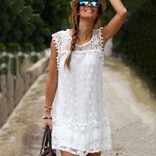 Womens Summer Short Mini Dress Lace Crochet Evening Party Boho Beach Sundress