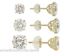 10K YELLOW GOLD ROUND BRILLIANT LCS DIAMOND STUD EARRINGS SET OF 3 + GIFT