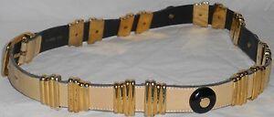 ESCADA Vintage Belt 40 10 Beige Leather Gold Black Lucite Charms HapaChico Haute