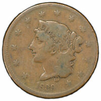 1839 1c Coronet Head Large Cent - Booby Head - Mid-Grade Coin - SKU-Y1255