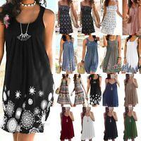 Womens Summer Tunic Vest Sleeveless Sundress Beach Loose Dress Tank Top Size