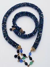 Artisan Seed Beads Braided Necklace & Bracelet Set Green & Blue