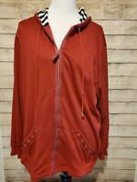 Alfred Dunner  Red Full Zip Front Hoodie Jacket Pockets Women's Plus Size 18