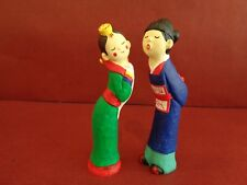 "Small Hand Painted Traditional Korean Wedding Couple Figurines - 6"" High"