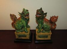 Pair of Antique Chinese pottery foo dogs mythical beast figures