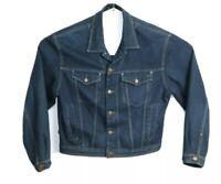 JAG Men's Dark Blue Denim Jacket Button Front Classic Winter Warm Size L