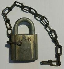 Vintage U.S.N. Navy Military Padlock Chicago Lock Co with Chain Hardware, no key