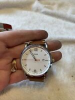 Fossil FS5395 The Commuter White Dial Brown Leather Strap Men's Watch Needs Batt