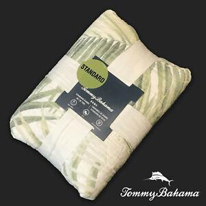 SET OF 2 New Tommy Bahama Quilted Standard Sham Set Natural Green Palm Leaf