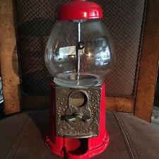 "Vintage Gum Ball Machine Table Decor 9"" Tall Red & Glass Metal Original No-98"