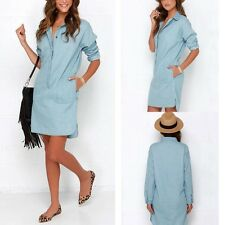 Women's Denim Blue Button Casual Dress Long Sleeve T-shirt Blouse Shirt Dresses