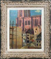 FRANCOIS BESSON (1904-1987) H/P LE MARCHE AUX POISSONS CATHEDRALE STRASBOURG (2)