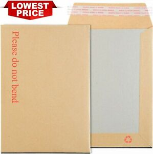 """HARD CARD BOARD BACK BACKED ENVELOPES """"PLEASE DO NOT BEND"""" MANILLA BROWN RIGID"""