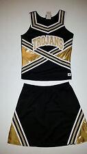Cheerleading Company two piece cheer uniform Black Gold Trojans NWOT 36b 28w