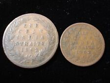 India Straits 1862 1 Cent and 1/2 Cent Coin  #NLB1