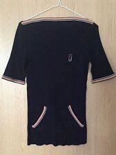 Vintage 70's Salvatore Ferragamo Black Top Knit Sweater T-Shirt UK 8-10