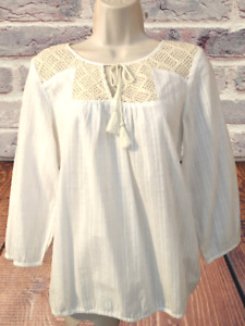 Lucky Brand Women's Top Size S 3/4 Sleeve Cotton Tie Front Pullover Top