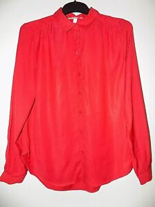 Womens Red Satin Collared Shirt HM Size UK 8