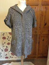 George size 16 short sleeve tweed/ beige look Cardigan with hoodie & pockets
