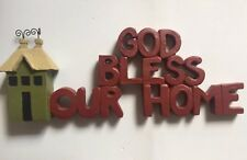 God Bless Our Home Figurine Country Home Decor Resin Ornament NEW Blossom Bucket