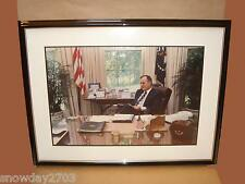 """President George Bush Picture In Oval Office   31 x 24 x 1"""" Outer Frame"""