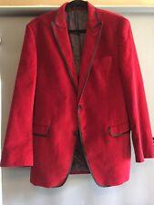 Van Heusen Studio 40R Red Velvet Paisley Lining 2 Button Sports Coat Jacket EUC