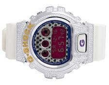Mens Ladies Casio G Shock 6900 White Glossy Canary & White Diamond Watch 3.0 Ct