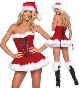 LADIES FATHER CHRISTMAS SANTA CLAUS COSTUME XMAS SIZE 6-10