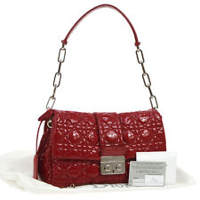Auth Christian Dior Cannage Chain Shoulder Bag Red Patent Leather Italy RK12171