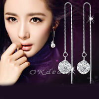 New Stylish women jewelry 925 Sterling Crystal Ball Dangle Drop Earrings