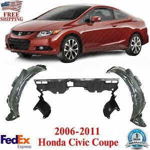 Front Fender Liners + Engine Splash Guard For 2006-2011 Honda Civic Coupe
