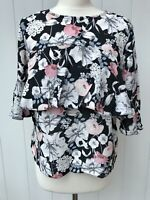 MISS SELFRIDGE Womens Top Size 10 Black White Pink Floral Pattern Short Sleeved