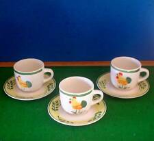 3 SCOTTS OF STOWE CHICKEN ROOSTER CUPS AND SAUCERS