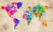 "World Map Modern Abstract Art Watercolour grunge CANVAS PRINT 24""X16"" #2"